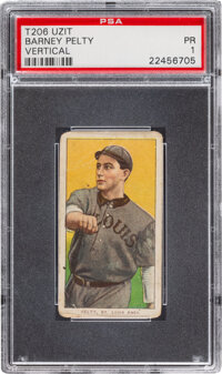 1909-11 T206 Uzit Barney Pelty (Vertical) PSA Poor 1 - Only Four Confirmed PSA-Graded Examples!