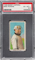 Baseball Cards:Singles (Pre-1930), 1909-11 T206 Sweet Caporal 150/649OP Mike Powers PSA EX-MT+ 6.5 - Pop One, None Higher with Overprint Back. ...