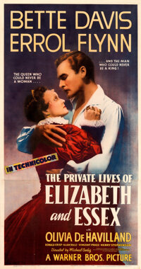 """The Private Lives of Elizabeth and Essex (Warner Bros., 1939). Very Fine- on Linen. Three Sheet (41.5"""" X 79"""")..."""