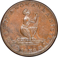 1838 Token Am I Not a Woman & A Sister, HT-81A, R.3, MS62 Brown NGC. Copper, 27mm. Ex: Donald G. Partrick Collection...