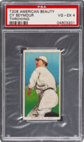 Baseball Cards:Singles (Pre-1930), 1909-11 T206 American Beauty 350-Without Frame Cy Seymour (Throwing) PSA VG-EX 4. ...