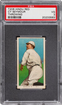 1909-11 T206 Hindu-Red Cy Seymour (Throwing) PSA VG 3 - Only Two Confirmed PSA-Graded Examples
