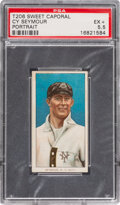 Baseball Cards:Singles (Pre-1930), 1909-11 T206 Sweet Caporal 350-460/25 Cy Seymour (Portrait) PSA EX+ 5.5 - Pop One, None Higher for Brand/Series/Factory. ...