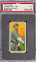 Baseball Cards:Singles (Pre-1930), 1909-11 T206 Hindu-Red Jimmy Sheckard (Glove Showing) PSA VG 3 - The Finest of Only Four Confirmed Examples. ...