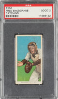 Baseball Cards:Singles (Pre-1930), 1909-11 T206 Piedmont 350-460/42 Fred Snodgrass (Catching) PSA Good 2 - Pop Two, Only Two Higher With Factory 42 Back. ...