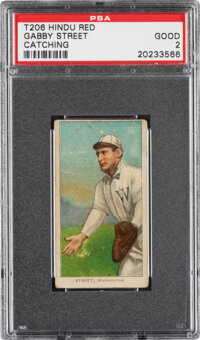 1909-11 T206 Hindu-Red Gabby Street (Catching) PSA Good 2 - The Only PSA-Graded Example!
