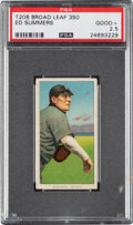 Baseball Cards:Singles (Pre-1930), 1909-11 T206 Broadleaf 350 Ed Summers PSA Good+ 2.5 - The Finest of Only Three PSA-Graded Examples. ...