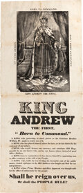 "Political:Posters & Broadsides (pre-1896), Andrew Jackson: The Iconic Anti-Jackson ""King Andrew"" Broadside. ..."