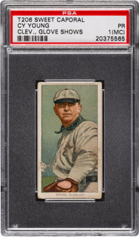 1909-11 T206 Sweet Caporal 350-460/25 Cy Young (Glove Shows) PSA Poor 1 (MC) - Four Partial Ads Misprinted Back!