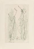 Prints & Multiples, Max Ernst (1891-1976). Two Etchings, from Les Chiens ont Soif, 1964. Etchings in colors on Arches paper. 16-3/4 x 12...