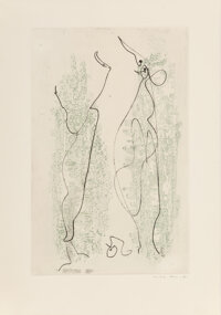 Max Ernst (1891-1976) Two Etchings, from Les Chiens ont Soif, 1964 Etchings in colors on Arches paper 16-3/4 x 12