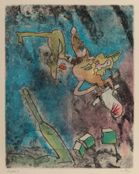 Roberto Matta (1911-2002) Centre Noeuds, Plate 7, 1974 Etching and aquatint in colors on wove paper 14 x 10 inches (3