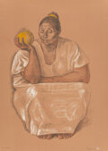 Prints & Multiples, Francisco Zúñiga (1912-1998). Mujer con Naranja, 1974. Screenprint in colors on wove paper. 26-3/4 x 19-1/4 inches (67.9...
