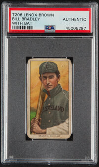 1909-11 T206 Lenox - Brown Bill Bradley (With Bat) PSA Authentic – The Only PSA-Graded Example!