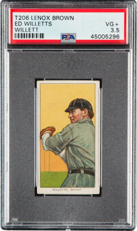 1909-11 T206 Lenox-Brown Ed Willett (sic Willetts-Pitching) PSA VG+ 3.5 - Only Three PSA-Graded Examples!