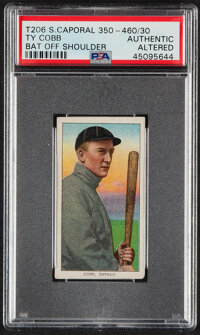 1909-11 T206 Sweet Caporal 350-460/30 Ty Cobb (Bat Off Shoulder) PSA Authentic - One of Three Known!