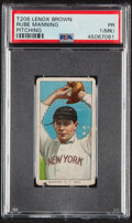 Baseball Cards:Singles (Pre-1930), 1909-11 T206 Lenox - Brown Rube Manning (Pitching) PSA Poor 1 (MK) - The Only PSA-Graded Example! ...