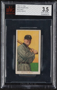 1909-11 T206 Lenox-Brown Sam Crawford (With Bat) BVG VG+ 3.5 - Only Two Graded Examples!