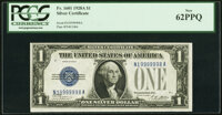 Fancy Serial Number 19999998 Fr. 1601 $1 1928A Silver Certificate. PCGS New 62PPQ