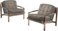 Furniture, After Milo Baughman (American, 1923-2003). Pair of Club Chairs. Bronze, upholstery. 31 x 29-1/2 x 32-1/2 inches (78.7 x ... (Total: 2 Items)