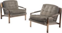 After Milo Baughman (American, 1923-2003) Pair of Club Chairs Bronze, upholstery 31 x 29-1/2 x 32-1/2 inches (78.7 x...