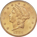 Liberty Double Eagles, 1882-CC $20 MS63 PCGS. Variety 1-A....