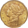 Liberty Double Eagles, 1893-CC $20 MS62 NGC. Variety 1-A....