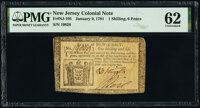 New Jersey January 9, 1781 1s 6d PMG Uncirculated 62