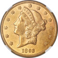 Liberty Double Eagles, 1893-CC $20 AU58 NGC. CAC. Variety 2-A....
