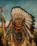 Paintings, Henry Herman Cross (American, 1837-1918). Chief Flat Iron. Oil on canvas. 30 x 25 inches (76.2 x 63.5 cm). Signed, title...
