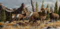 Paintings, Trevor Swanson (American, b. 1968). Four Bighorn Sheep. Oil on canvas. 12 x 24 inches (30.5 x 61.0 cm). Signed lower rig...