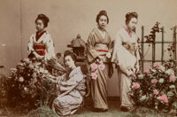 Unknown Artist (19th Century) Group of 8 Photographs of Young Japanese Women Hand-colored albumen prints 5-1/4 x 3-1/...