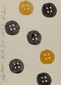 Works on Paper, Donald K. Sultan (b. 1951). Buttons, 1997. Acrylic on paper. 8-1/2 x 6 inches (21.6 x 15.2 cm). Signed, dated, and title...