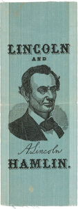 Political:Ribbons & Badges, Abraham Lincoln: Gorgeous Lincoln and Hamlin 1860 Campaign Ribbon....