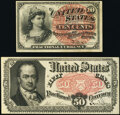 Fractional Currency:Fifth Issue, Fr. 1258 10¢ Fourth Issue Choice About New;. Fr. 1381 50¢ Fifth Issue Choice About New.. ... (Total: 2 notes)