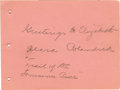 """Movie/TV Memorabilia:Autographs and Signed Items, Clara Blandick, """"Auntie Em"""" of The Wizard of Oz, Signed Album Page. A pink, 4"""" x 5"""" album page signed in pencil by Clara Bl..."""