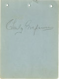Movie/TV Memorabilia:Autographs and Signed Items, Charley Grapewin Signed Album Page. Charley Grapewin (1869-1956), grizzled character actor best-remembered as Uncle Henry in...