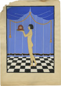 "Movie/TV Memorabilia:Original Art, Natacha Rambova Color Sketch for ""Salome."" The Holy Bible meets Roaring '20s Art Deco in this original Rambova art creation..."