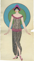 "Movie/TV Memorabilia:Original Art, Natacha Rambova Color Sketch for Salome with Green and Blue Circle.This ultra-rare, approximately 8"" x 11"" sketch shows Sal..."
