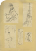 Movie/TV Memorabilia:Original Art, Natacha Rambova Two-Sided Panel Pencil Sketches. Rambova shows offher artistic versatility in this eclectic sampling, which...