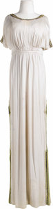 Movie/TV Memorabilia:Costumes, Alice Faye Costume Dress. An off-white sleeveless full-length dresswith elaborate brocade on the shoulders, hem, and sides,...