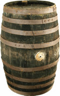 """Movie/TV Memorabilia:Props, """"Gunsmoke"""" Prop Whiskey Keg. A wooden prop whiskey keg, 22"""" talland 12"""" in diameter, used in the classic television Western..."""