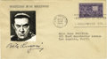 "Movie/TV Memorabilia:Autographs and Signed Items, Bela Lugosi First Day Cancelled (Halloween!) Signed Envelope. This4"" x 7"" mailing envelope features the black ink signature..."