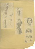 Movie/TV Memorabilia:Original Art, Natacha Rambova Pencil Sketches - Two Panels of Nudes and Anatomy.Rambova produces a three-paneled one-woman art show, wit...