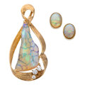 Estate Jewelry:Suites, Opal, Diamond, Gold Jewelry Suite. ... (Total: 2 Items)