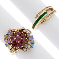 Estate Jewelry:Rings, Diamond, Ruby, Emerald, Opal, Gold Rings. ... (Total: 2 Items)
