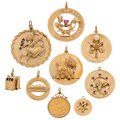 Estate Jewelry:Lots, Gold Coin, Multi-Stone, Gold Charms. ... (Total: 9 Items)