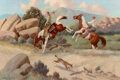 Paintings, Charles Damrow (American, 1916-1989). The Fox and the Hare. Oil on canvas. 24 x 36 inches (61.0 x 91.4 cm). Signed lower...