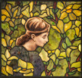 Glass, Tiffany Studios Leaded Glass Young Lady in M...