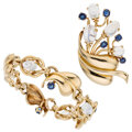 Estate Jewelry:Suites, Sapphire, Moonstone, Gold Jewelry Suite. ... (Total: 2 Items)